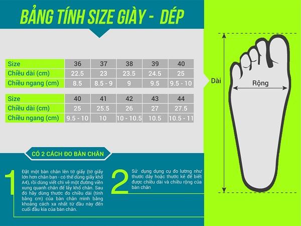 Bảng size giày Quảng Châu thống nhất